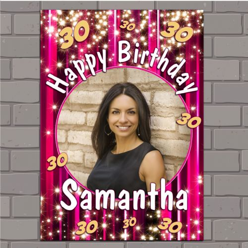 Personalised Pink Sparkle Happy Birthday Party PHOTO Banner Poster N137
